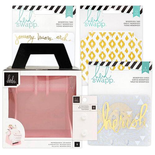 Heidi Swapp - Memorydex - Holder - Blush Rolodex Spinner - Monthly Gold Foil Cards Bundle