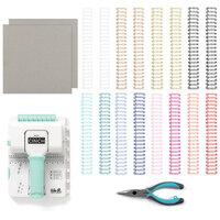 We R Memory Keepers - Mini Cinch Binding Tool - 8 x 8 Designer Book Board - Chipboard Bundle