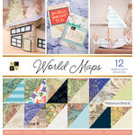 Die Cuts with a View - World Maps Collection - Foil Paper Stack - 12 x 12