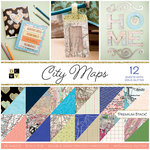 Die Cuts with a View - City Maps Collection - Glitter Paper Stack - 12 x 12