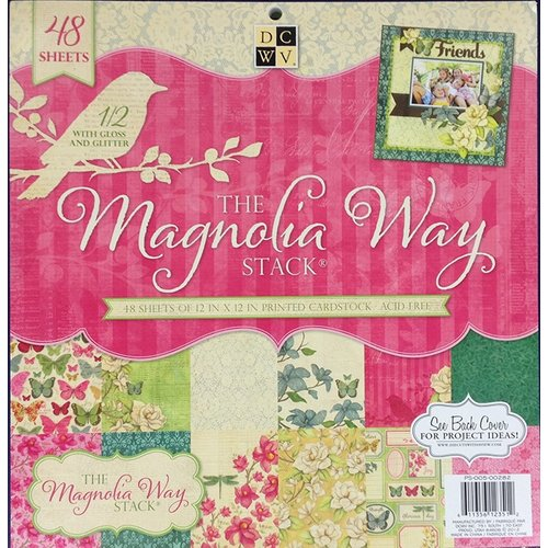 Die Cuts with a View - Magnolia Way Collection - Glitter and Gloss Paper Stack - 12 x 12