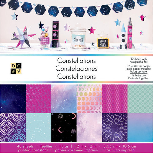 Die Cuts with a View - Constellations Collection - Foil Paper Stack - 12 x 12