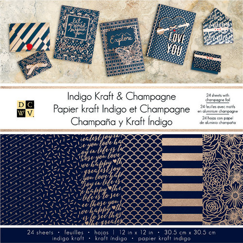 Die Cuts with a View - Indigo Kraft and Champagne Collection - Foil Paper Stack - 12 x 12