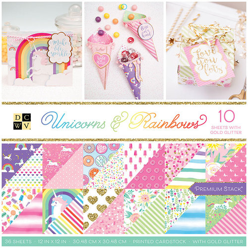 Die Cuts with a View - Unicorns and Rainbows Collection - Glitter Paper Stack - 12 x 12
