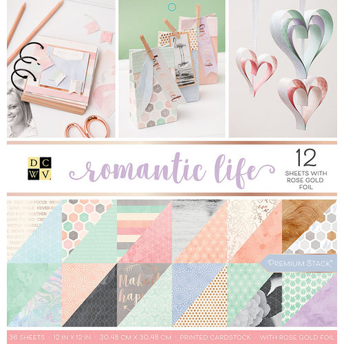 Die Cuts with a View - Romantic Life Collection - Foil Paper Stack - 12 x 12