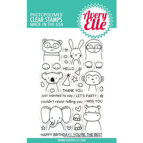 Avery Elle - Clear Photopolymer Stamps - Peek-A-Boo Pals