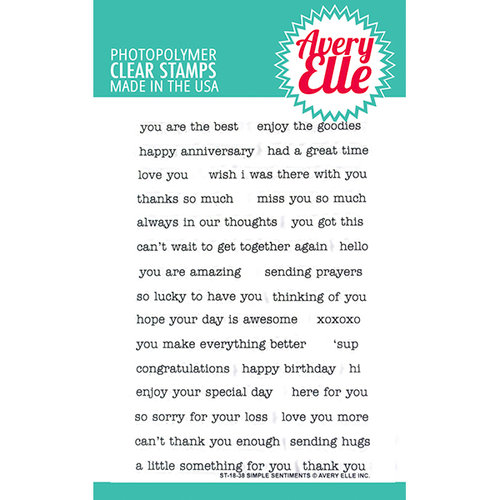 Avery Elle - Clear Photopolymer Stamps - Simple Sentiments