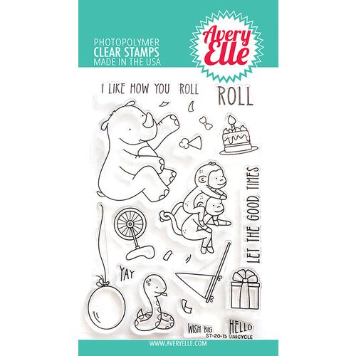 Avery Elle - Clear Photopolymer Stamps - Unicycle
