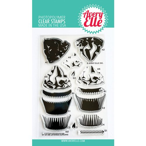 Avery Elle - Clear Photopolymer Stamps - Layered Cupcake