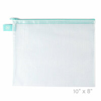 Avery Elle - Zippered Vinyl Mesh Pouch - Aqua - Small