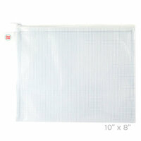 Avery Elle - Zippered Vinyl Mesh Pouch - White - Small