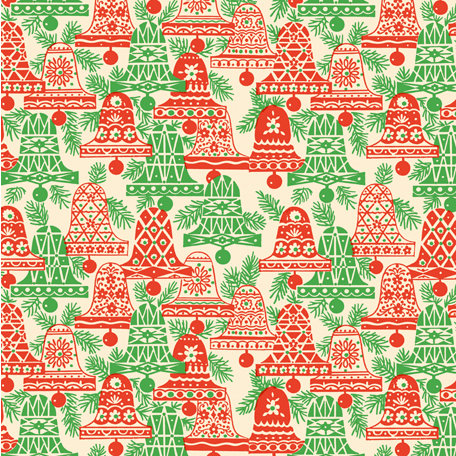 Anna Griffin - Twinkle Bright Collection - Christmas - 12 x 12 Paper - Red and Green Bells
