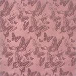 Anna Griffin - Flora Collection - 12 x 12 Flocked Paper - Flora Butterflies Purple