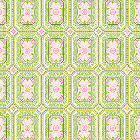 Anna Griffin - Isabelle Collection - 12 x 12 Glittered Paper - Pink and Green Tiles, CLEARANCE