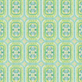 Anna Griffin - Isabelle Collection - 12 x 12 Glittered Paper - Blue and Green Tiles, CLEARANCE
