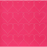 Anna Griffin - Valentina Collection - 12 x 12 Stitched Cardstock Sheet - Pink Hearts, CLEARANCE