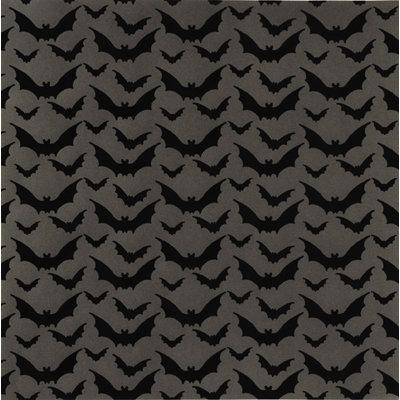 Anna Griffin - Esmerelda Collection - Halloween - 12 x 12 Flocked Paper - Fuzzy Bats