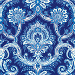 Anna Griffin - Willow Collection - 12 x 12 Flocked Paper - Blue Damask