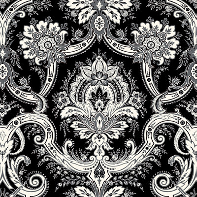 Anna Griffin - Willow Collection - 12 x 12 Flocked Paper - Black Damask