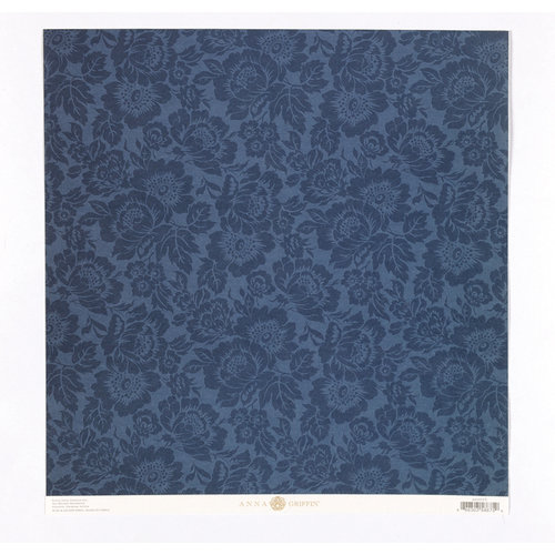 Anna Griffin - Fleur Rouge Collection - 12 x 12 Embossed Paper - Blue Floral