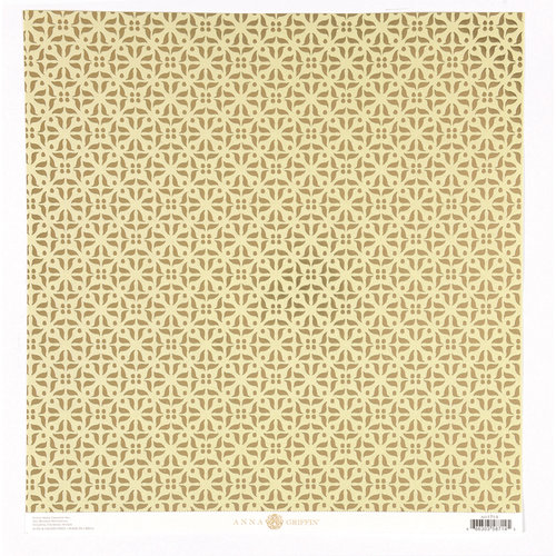 Anna Griffin - Haven Collection - 12 x 12 Foiled Paper - Medallions - Gold and Green