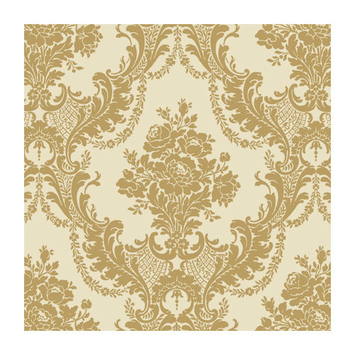Anna Griffin - 12 x 12 Gold Flocked Paper - Ivory