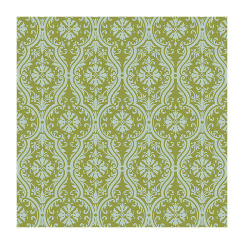 Anna Griffin - 12 x 12 Blue and Grey Flocked Paper - Green