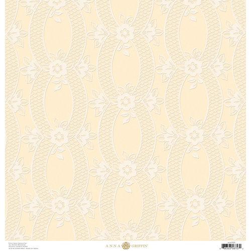 Anna Griffin - Eleanor Collection - 12 x 12 Flocked Paper - Cream