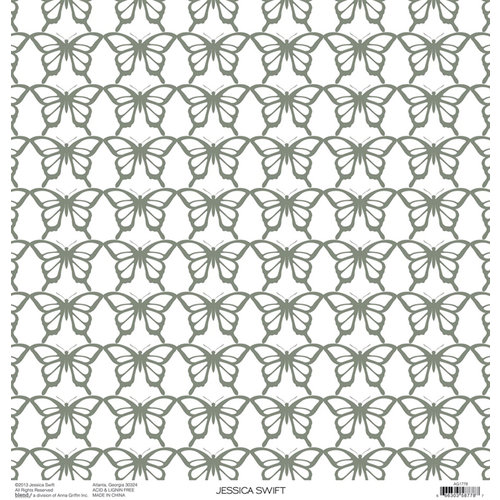 Anna Griffin - Blomma Collection - 12 x 12 Silver Foiled Paper - Butterflies