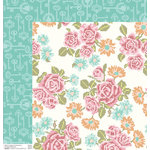 Anna Griffin - Hope Chest Collection - 12 x 12 Double Sided Paper - Cross-Stitch Roses White