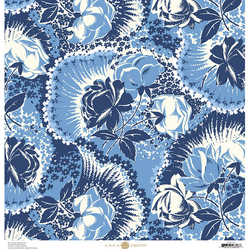 Anna Griffin - Madison Collection - 12 x 12 Paper - Firecracker Floral - Navy