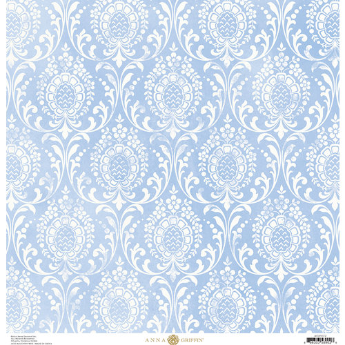 Anna Griffin - Madison Collection - 12 x 12 Paper - Damask Distress - Sky