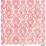 Anna Griffin - Madison Collection - 12 x 12 Paper - Damask Distress - Cherry
