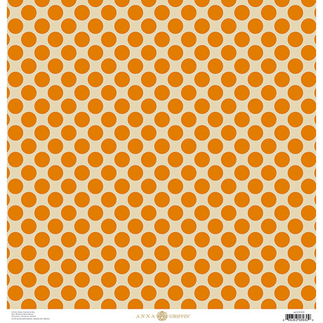Anna Griffin - Battastic Collection - Halloween - 12 x 12 Glitter Paper - Orange Dots