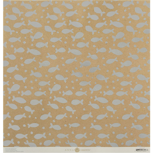 Anna Griffin - Best In Show Collection - 12 x 12 Paper with Foil Accents - Silver Fish