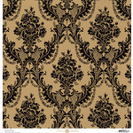 Anna Griffin - Endora Collection - Halloween - 12 x 12 Paper - Damask - Black and Kraft