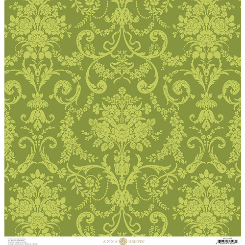 Anna Griffin - Fancy French Collection - 12 x 12 Paper - Damask - Green