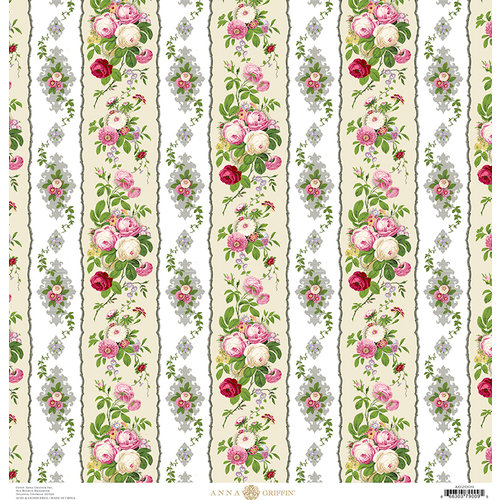 Anna Griffin - Fancy French Collection - 12 x 12 Paper - Floral Stripe - Ivy