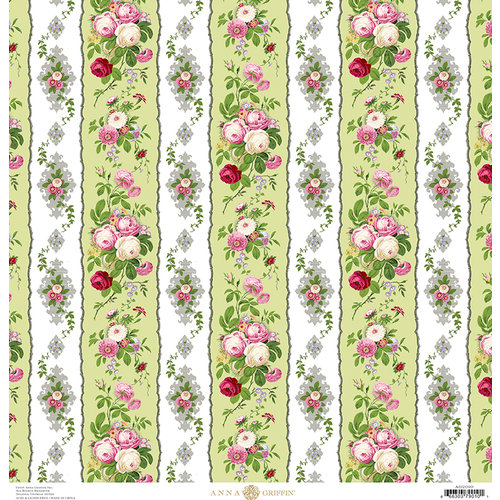 Anna Griffin - Fancy French Collection - 12 x 12 Paper - Floral Stripe - Green