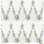 Anna Griffin - Fancy French Collection - 12 x 12 Paper - Floral Chevron - Blue