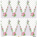 Anna Griffin - Fancy French Collection - 12 x 12 Paper - Floral Chevron - Lavender