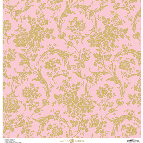 Anna Griffin - Fancy French Collection - 12 x 12 Paper - Floral Swirls - Pink