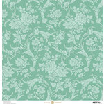 Anna Griffin - Fancy French Collection - 12 x 12 Paper - Floral Swirls - Blue
