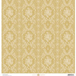 Anna Griffin - Fancy French Collection - 12 x 12 Paper - Brocade Stripe - Gold