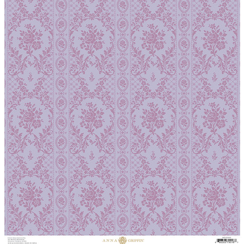 Anna Griffin - Fancy French Collection - 12 x 12 Paper - Brocade Stripe - Purple