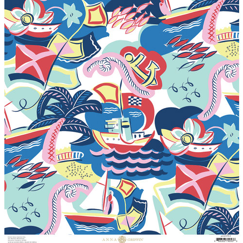 Anna Griffin - Seafarer Collection - 12 x 12 Cardstock - Regatta