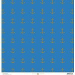 Anna Griffin - Seafarer Collection - 12 x 12 Cardstock with Foil Accents - Blue Anchor