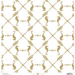 Anna Griffin - Seafarer Collection - 12 x 12 Cardstock with Foil Accents - Ivory Seahorse