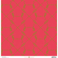 Anna Griffin - Seafarer Collection - 12 x 12 Cardstock with Foil Accents - Red Seahorse