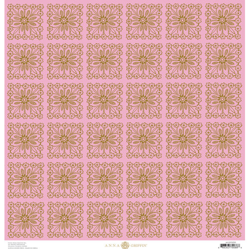 Anna Griffin - Charlotte Collection - 12 x 12 Paper - Flower Square - Pink